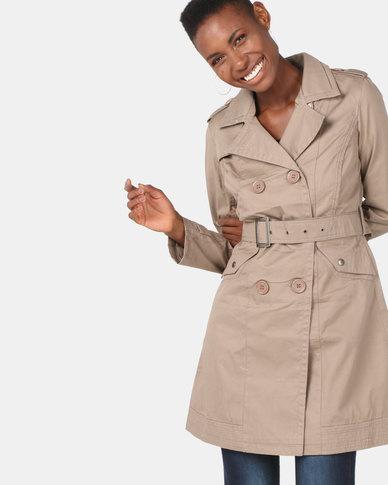 Utopia Cotton Trench Coat Beige