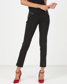 Utopia Slim Leg Trousers With PU Detail Black