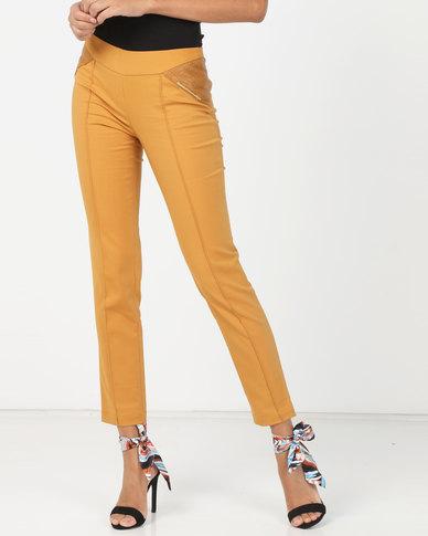 Utopia Slim Leg Trouser With PU Detail Mustard