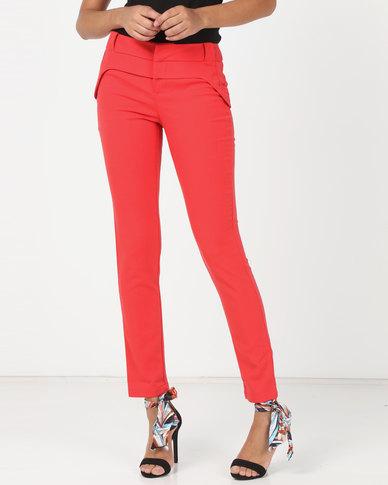 Utopia Slim Leg Trousers Red