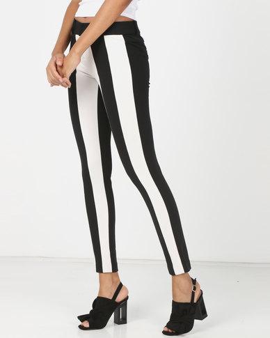 Utopia Colourblock Skinny Stretch Trousers Black/White