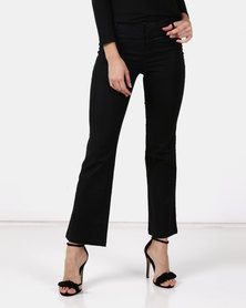 Utopia Wide Leg Cotton Blend Trousers Black