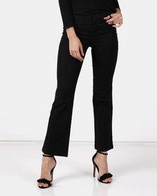Utopia Wide Leg Cotton Blend Trousers Black