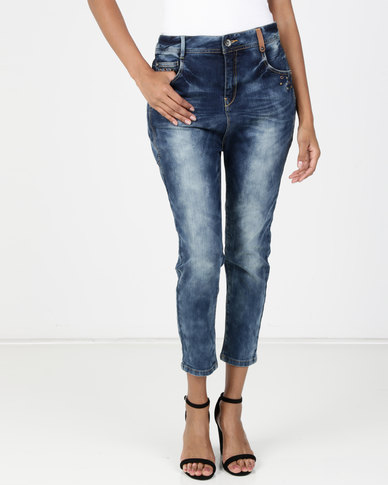 Utopia Blue Washed Jeans With Forward Seam Detail
