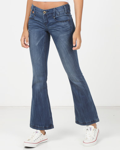 Utopia Slim Flare Denim Jeans Blue