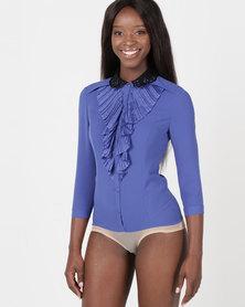 Utopia 3/4 Sleeve Ruffle Bodysuit Cobalt