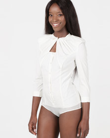 Utopia 3/4 Sleeve Ruffle Bodysuit Milk