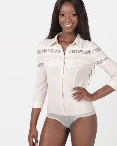 Utopia 3/4 Sleeve Ruffle Bodysuit With Lace Nude Pink