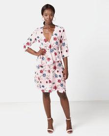 NA-KD V-Neck Frill Long Sleeve Dress Pink