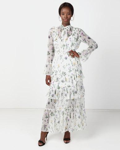 NA-KD Tie Waist Ruffle Maxi Dress White