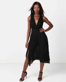 NA-KD Deep Neck Pleated Dress Black