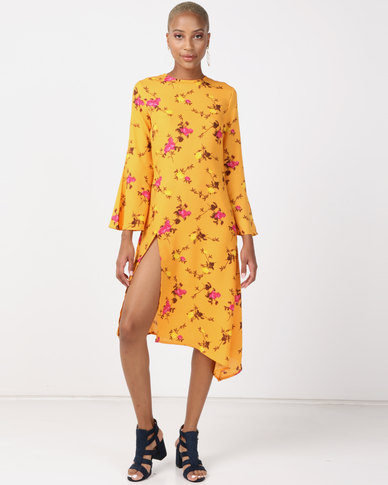 NA-KD High Slit Asymmetric Midi Dress Orange Floral