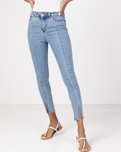 663e7d1d5156 NA-KD Highwaist Skinny Front Slit Jeans Light Blue