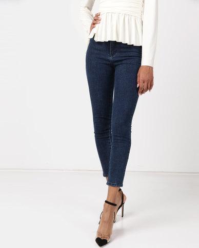 5a23b335983f NA-KD Highwaist Skinny Jeans Dark Blue