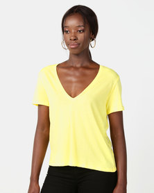NA-KD V-Neck Tee Yellow Lime
