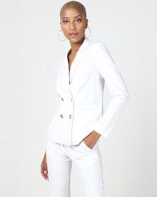 NA-KD Linen Look Blazer White