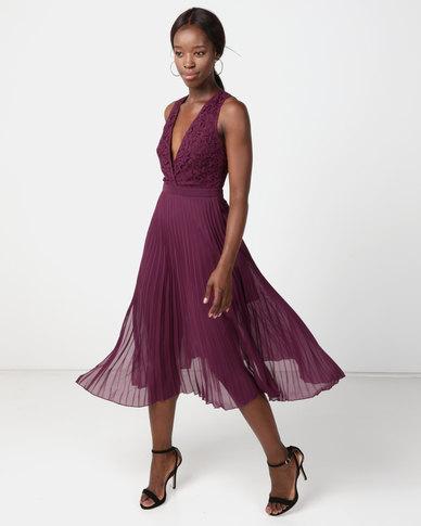NA-KD Deep Neck Pleated Dress Deep Purple  a175579d4