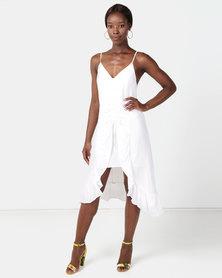 NA-KD Front Gathering Midi Dress White