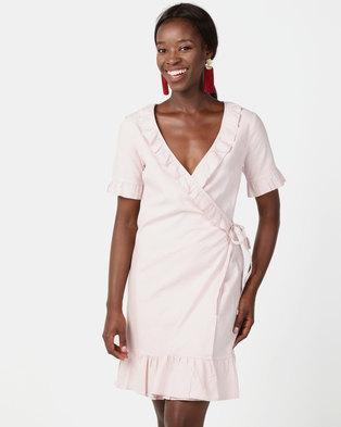 NA-KD Wrap Over Frill Linen Look Dress Light Pink