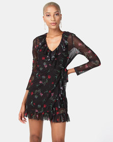 NA-KD Frill Mesh Dress Black/Flower Print