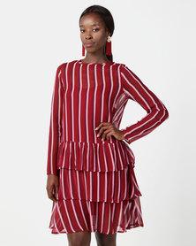 NA-KD Long Sleeve Frill Dress Burgundy Triple Stripes