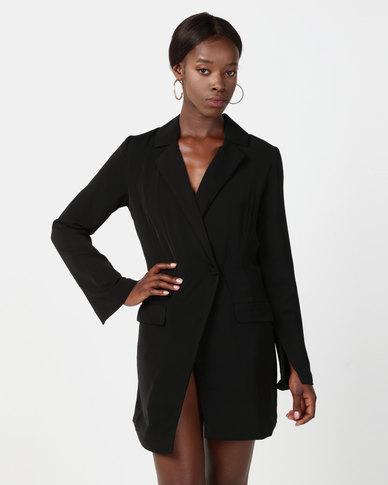 NA-KD Asymmetric Blazer Dress Black