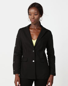 NA-KD Button Blazer Black