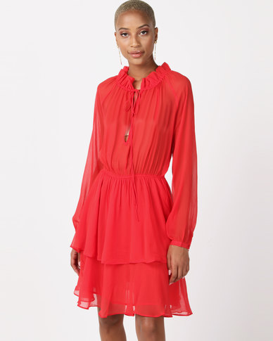 NA-KD High Frill Neck Dress Red