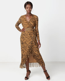 NA-KD Mesh Wrap Waist Dress Tiger Brown