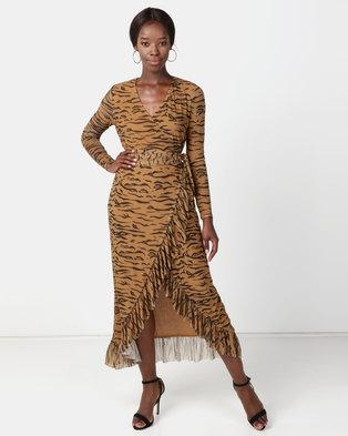 NA-KD Mesh Wrap Waist Dress Tiger Brown