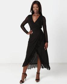 NA-KD Mesh Wrap Waist Dress Black