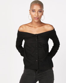 NA-KD Slip Shoulder Shirt Black