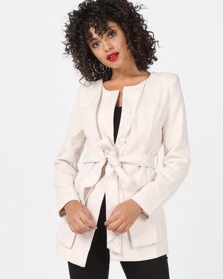 Vero Moda Belted Mid Length Coat Beige
