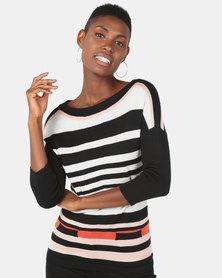 Vero Moda Striped Knit Jersey Black