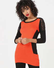 Vero Moda Shoulder Detail Side Panel Long Knit Jersey Orange/Black