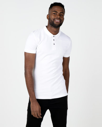 New Look Ribbed Polo Shirt White