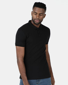 New Look Ribbed Polo Shirt Black