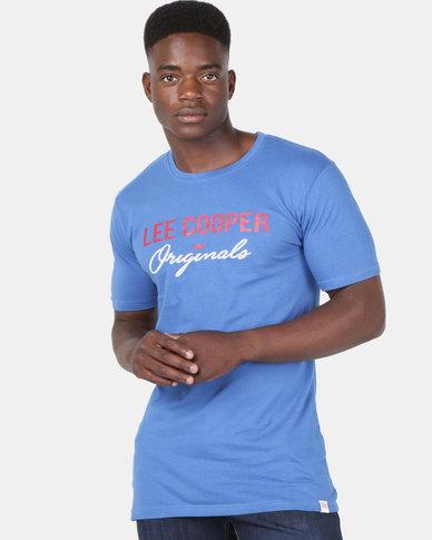 Lee Cooper M Carter Logo T-Shirt Royal Blue
