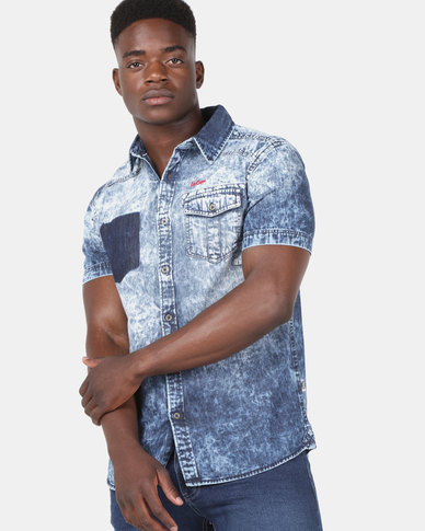 Lee Cooper M Clark Short Sleeve Shirt Indigo