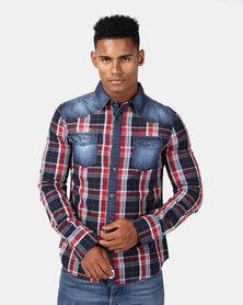Lee Cooper Mens Joe Long Sleeve Shirt Navy
