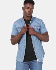 Lee Cooper M Danny Short Sleeve Shirt Indigo