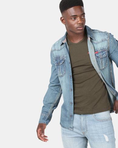 Lee Cooper M Mario Long Sleeve Shirt Indigo