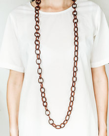 Basic Journey Leather Long Chain Necklace Black
