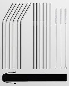 Gretmol Online Reusable Stainless Steel Long Straws 12 Pack Silver