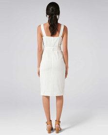 Forever New Drew Button Down Stripe Denim Dress Stripe