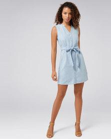 Forever New Aja Sleeveless Denim Shirt Dress Light Wash