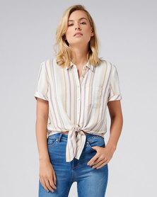 Forever New Meg Tie front shirt Mustard Stripe