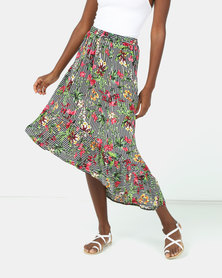 Utopia Stripe Floral Ruffle Skirt Multi