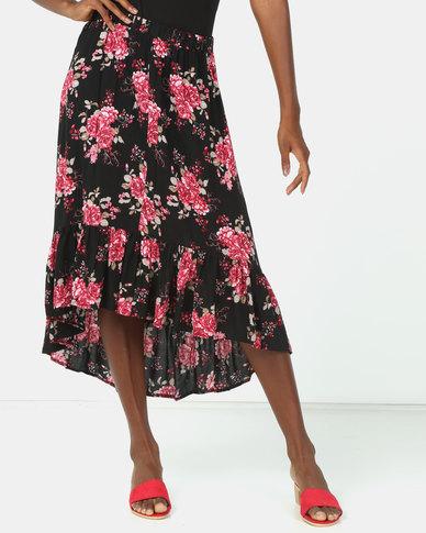 Utopia Tropical Print Ruffle Skirt Black