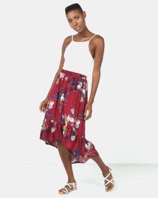 8d99e2d6a5d6 Utopia Floral Print Ruffle Skirt Burgundy